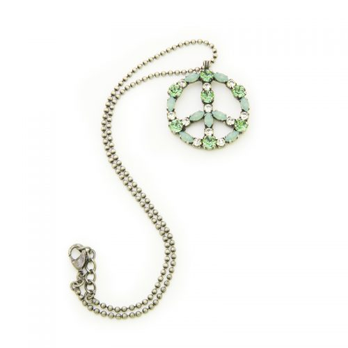 Pendente peace and love con cristalli Swarovski