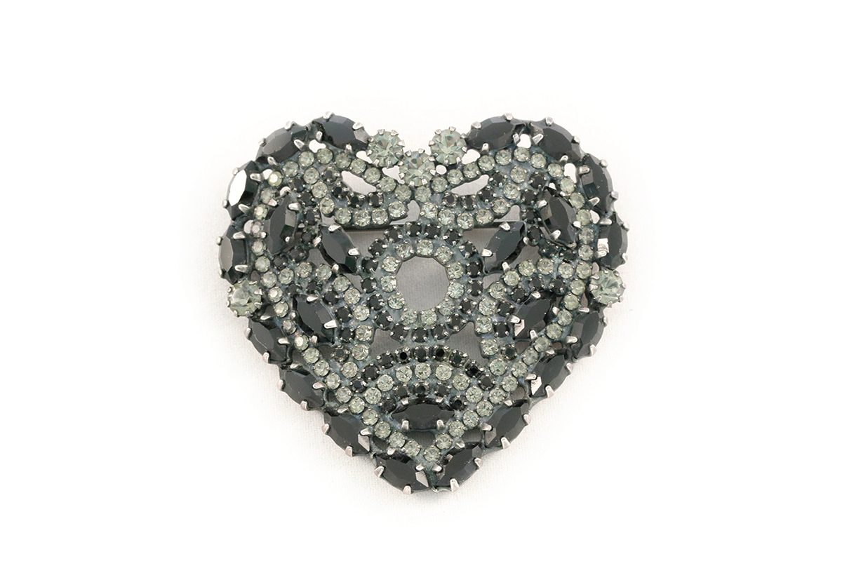 Jet and black diamond brooch