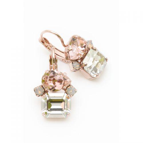 Orecchini Swarovski oro rosa, vintage rose e cristallo