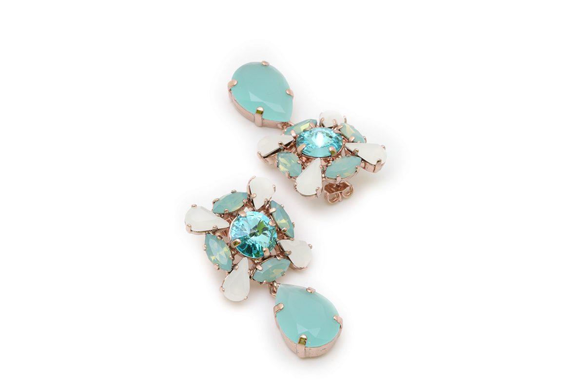 Orecchini pendenti acqua opal e turchese chiaro