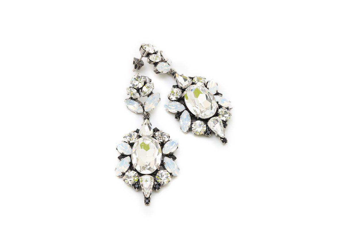 Orecchini con cristalli Swarovski, cristallo e white opal