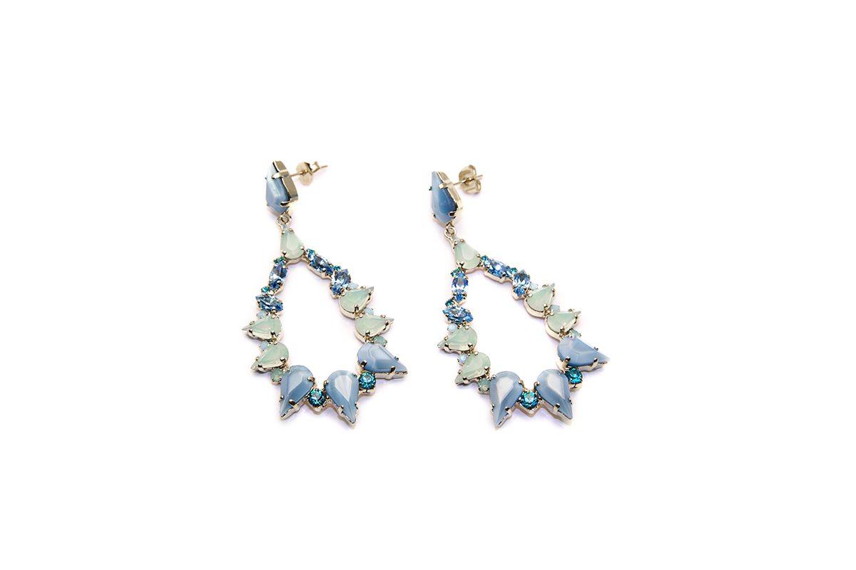 Orecchini con cristalli Swarovski air blu opal , blu zircon e pacific opal